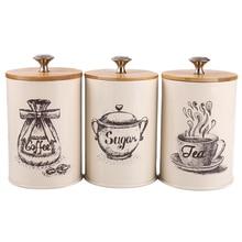 Juego de 3 unidades de recipientes de Metal, contenedor de almacenamiento de comida seca para encimera de cocina, lata de café y azúcar para té