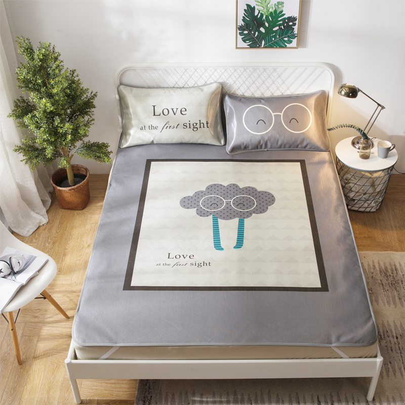 Grey Cloud Summer Cool Mat Kit Bed Protection Pad Polyester Fabric 2/3Pcs Pillow Cases Twin Full Queen Mattress Pad