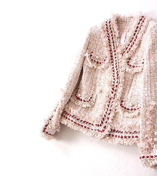 Lady Sergé poches Col Rose Boutons Multi V De Cardigan Perles Lumière À Tweed Doux Conception Veste Franges Élégant Nouvelle 2017ss Luxe wvBq88U
