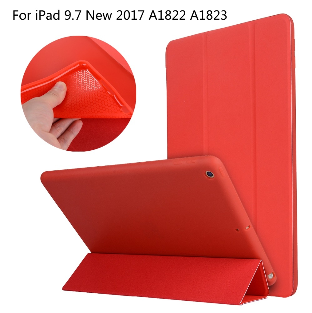 For iPad 9.7 New 2017 A1822 A1823 High-quality case Cover Smart Slim Magnetic TPU Leather Stand Cases + Film + Stylus что на 10 копеек 1823 года цена