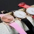Nuevo 2016 Mujeres Ultrafinos Minimalista Estilo Simple Correa de Cuero de Cuarzo de la Marca de Lujo Top Girl Vestido de Moda Casual Relojes Relogio