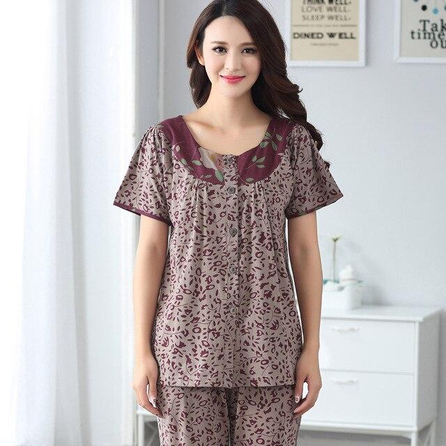 971eca5494 2019 Summer 5XL women s shortsleeve woven cotton pajamas female models  Small floral cardigan suit tracksuit sleep tops+pants 2pc