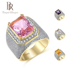 Bague Ringen Gold Color Stainless Steel Mens Ring Purple Yellow White Rhinestone CZ Luxury Big Rings for Men Male Size 8-12