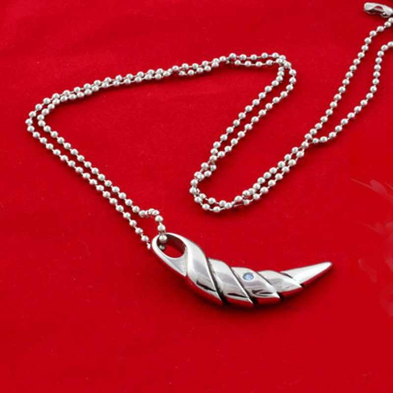 1 pcs Fashion Stainless Steel with Blue Crystal Wolf Tooth Pendant Necklace for Men Jewelry Gift Hot sale