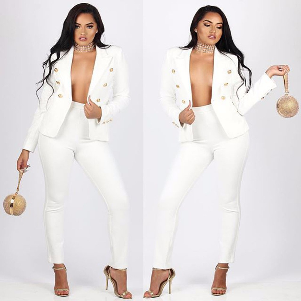 Spring and Autumn Fashion Sexy Deep V Set Female Korean Small Suit Jacket Pants Two-Piece Set conjuntos de mujer two piece set