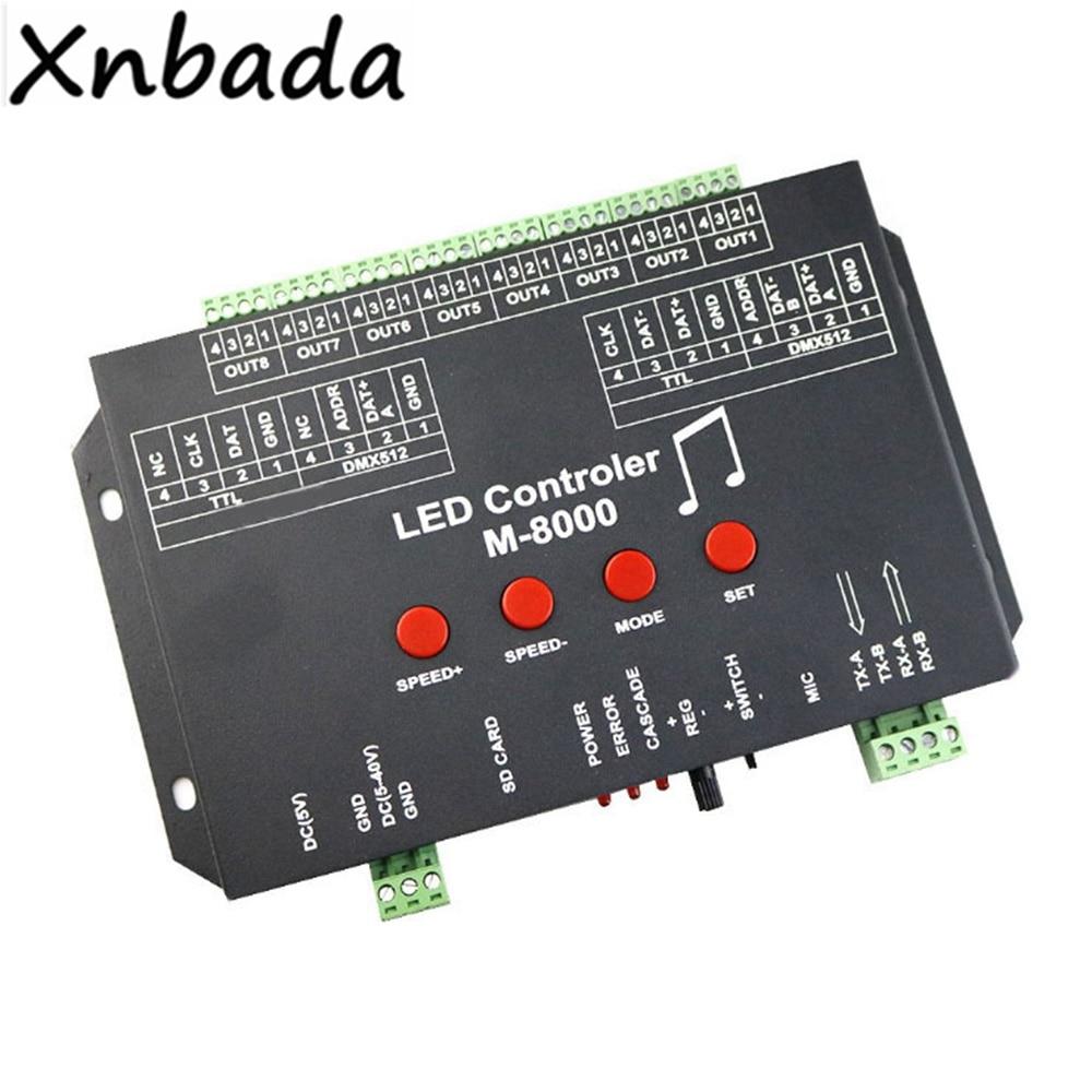 M 8000 Programable 8096Piexl Led controlador de música para WS2812B WS2812 SK6812 Led cinta de tira de luz entrada DC5V - 2
