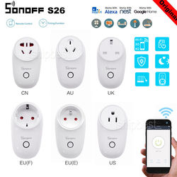 Sonoff S26 WiFi Smart Plug EU US UK CN AU Automation Smart Home Remote Socket Switch Compatible with Alexa Google Home IFTTT