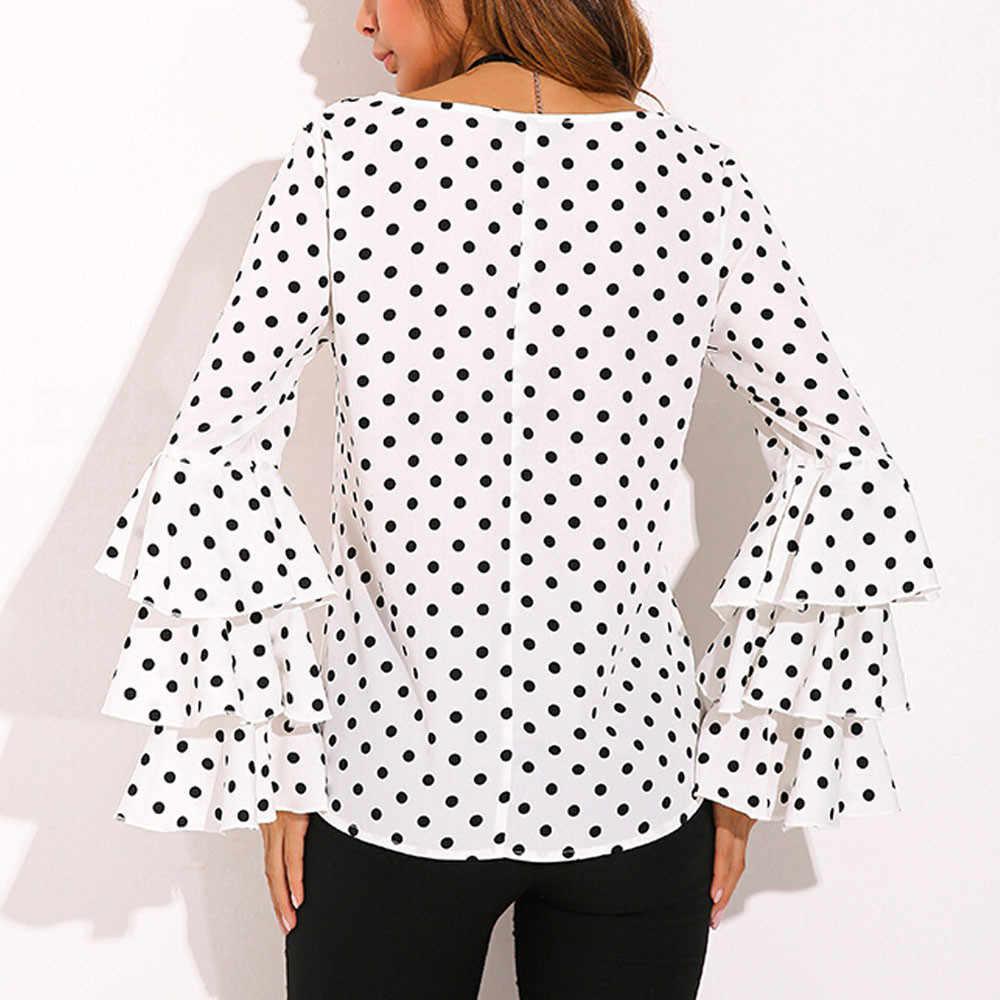 ee94eb68209e84 ... Fashion Loose Polka Dot Shirt Women s Bell Sleeve Ladies Casual Blouse  TopsAUG14 ...