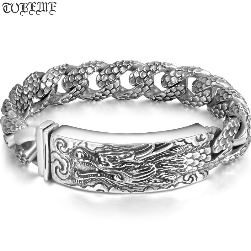 Handcrafted Thailand 925 Silver Dragon Bracelet Vintage Sterling Silver Dragon Bracelet Real Pure Silver Dragon Man