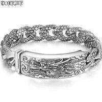Ручной работы Таиланд 925 серебряный дракон браслет Винтаж Серебряный Дракон высокой пробы браслет натуральное чистое серебро Дракон мужск