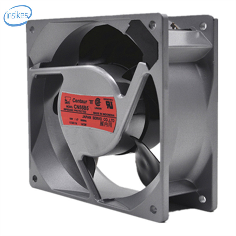 CN55B5 Aluminum Frame Cooling Fan AC 100V 0.23A/0.19A 14W/12W 2950RPM 12038 12cm 120*120*38mm 2 Wires 50/60HZ qqv6 aluminum alloy 11 blade cooling fan for graphics card silver 12cm