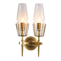 indoor vintage luxury brass wall mounted lamps for home newest styles antique french bedroom cafe wall lights glass shades