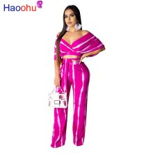 Tie Dye Print Sexy Two Piece Tracksuit Female Clothes Deep V Neck Short Sleeve Crop Top  And Wide Leg Long Pant Plus Size Outfit