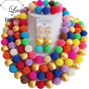 Brand Laanc African Jewellery Costume Set Multicolor Imitation Pearl Gold Ball Nigeiran Wedding Beads AL167