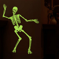 Creative Halloween Wall Stickers Dancing Skull Luminous Sticker Party Skeleton DIY Art Wall Decals Haunted Bar