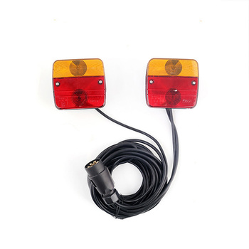 1Set Car Rear Tail Light Kits with Magnetic Holder 12V Truck Trailer Tail Light Assembly Stop Turn Signal Lamp