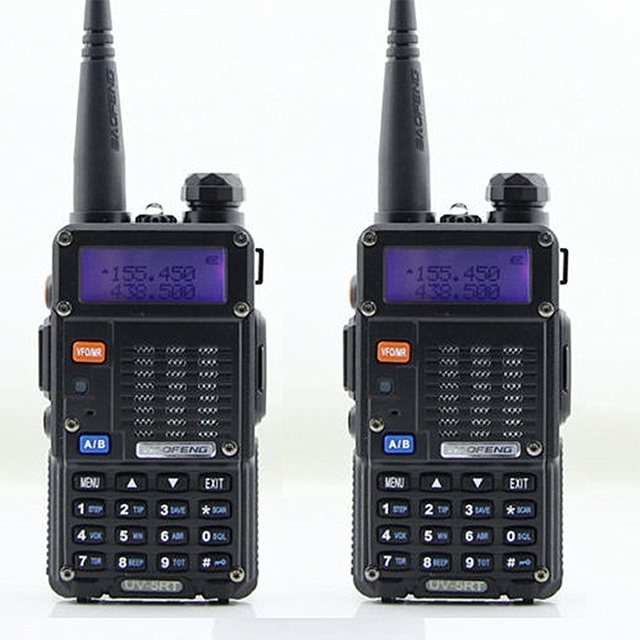 2pcs BAOFENG UV-5RT Walkie Talkie Black 128 Memory Channels Dual Band VHF / UHF 136-174 / 400-520MHz HamTwo Way Radio