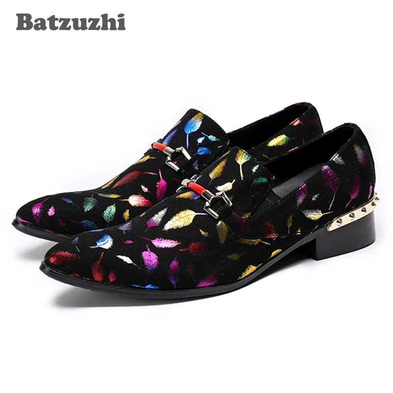 Batzuzhi Italy Type Fashion Men Shoes Party Wedding Loafers Suede Leather Dress Shoes Zapatos Hombre, Big Size 38-46