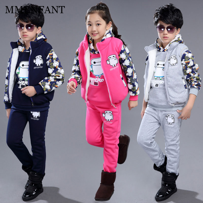 Sports suit christmas 2017 children sets for teenager kids boys and girls Baymax printing sweater +vest+pants kids sportswear 2015 new arrive super league christmas outfit pajamas for boys kids children suit st 004