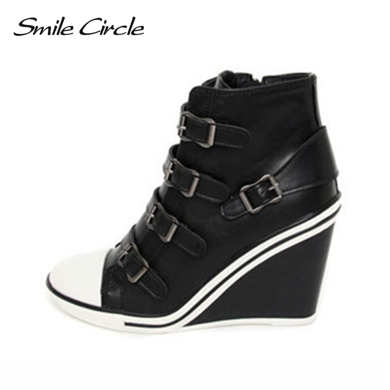 נעלי חורף סתיו מעגל חיוך טריזים נשים נעלי ספורט גובה להגדיל 10 ס