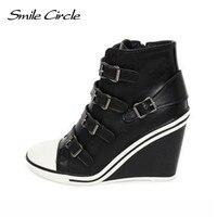ابتسامة دائرة الخريف الشتاء أحذية للنساء أسافين حذاء الارتفاع زيادة 10 سنتيمتر منصة الأحذية أزياء المصاعد أحذية عالية الكعب
