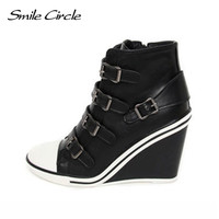 Smile Circle Autumn Winter Shoes For Women Wedges Sneakers Height Increase 10cm Platform Shoes Fashion Elevator