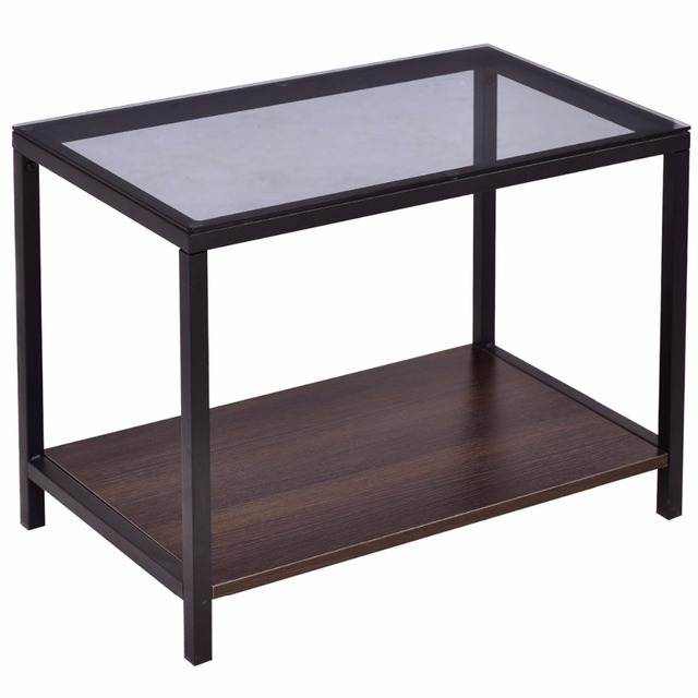 Goplus 2PCS Set Nesting Modern Coffee Side Table Wood Portable End Table Metal Frame Glass Top Coffee Tables with Drawer HW56083 5