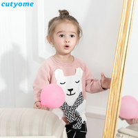 Baby Children Girls Warm Clothing Pink Bear With Scarf Desigan Sweater For Kids Boy Girl Knits