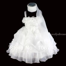 free shipping 2013 NEW Flower Girl Princess Wedding Pageant Party Brithday Dress White