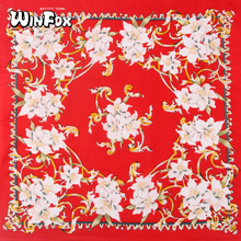 Winfox Fashion 55*55cm Hip Hop Cotton Flower Floral Bandana Square Scarf Black Red Magic Headband Printed For Women/Men/Girl