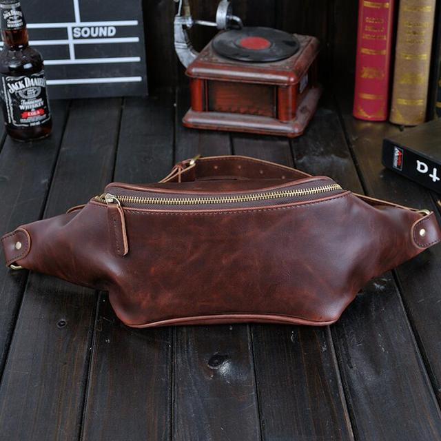 0896f425b New Pu Leather Waist Packs Fanny Pack Belt Bag Phone Pouch Bags Travel  Waist Pack Male Vintage Black Chest Bag Leather Pouch