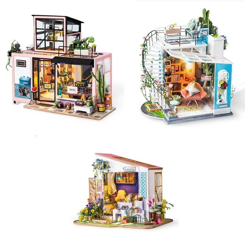 Robotime New Arrival DIY Loft with Furniture Children Adult Miniature Wooden Doll House Model Building Kits Dollhouse Toy DG