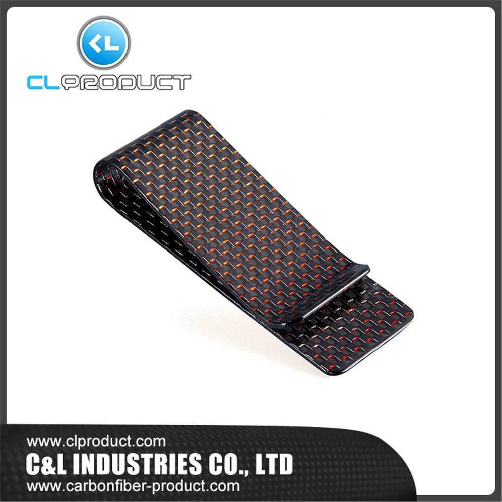 Carbon fiber money clip Red M (1)