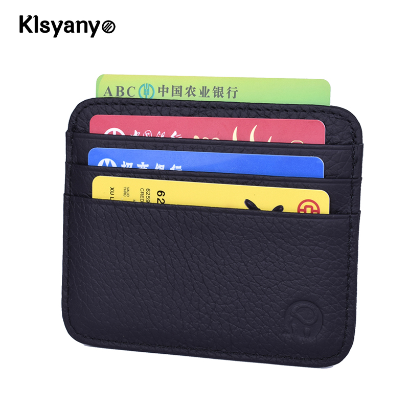 Klsyanyo Men Women Real Leather Minimalist Business Bank Card Case Card Holder Credit Cardholder Porte Carte Money Coin Purse
