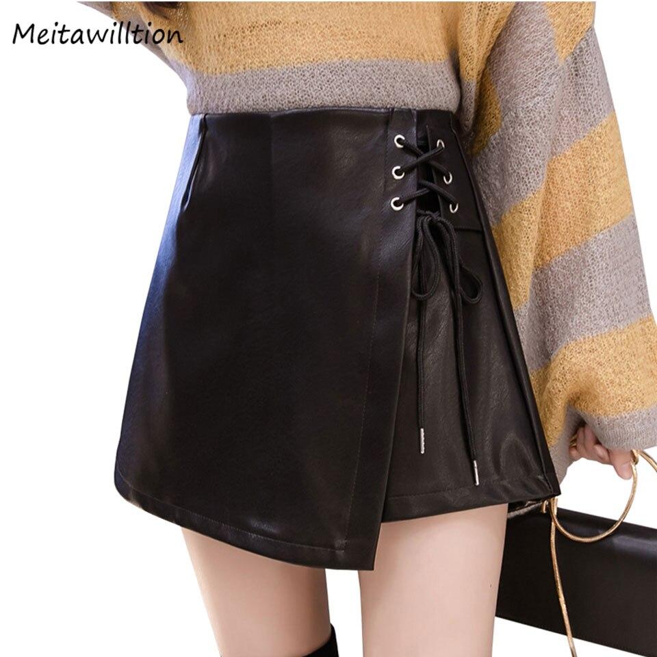 2018 Winter Women Irregular Pu Leather Skirt Ladies Side
