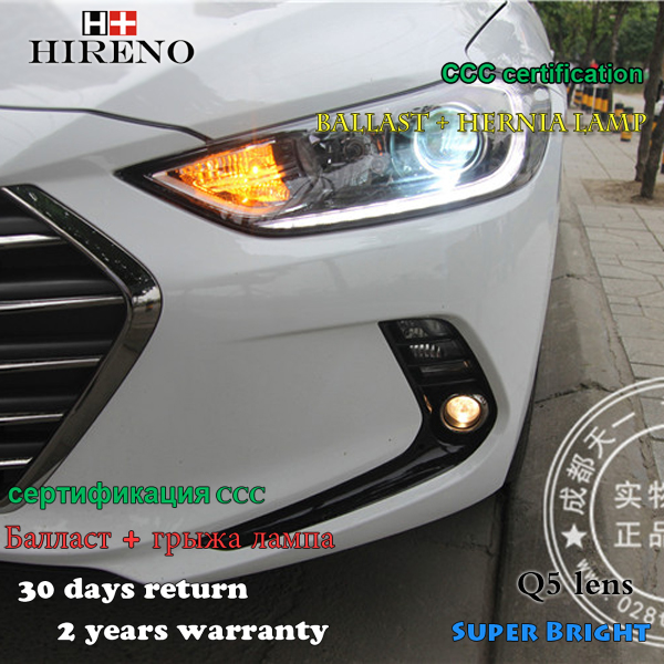 Hireno Headlamp for 2016 Hyundai Elantra Headlight Assembly LED DRL Angel Lens Double Beam HID Xenon 2pcs
