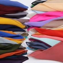 Hot Koop Hoge Kwaliteit 48 Mooie Kleur Plain Bubble Chiffon Kleine Vierkante Sjaal Populaire Moslim Hijab Hoofd Slijtage Mode Vrouwen mocketer