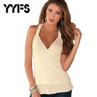 YYFS Charming Summer Women Tops Halter Neck Strapless Tank Sexy Backless Lace Stitching Vest