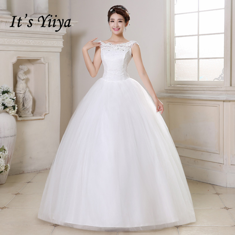 Vestidos De Novia Plus Size Cheap O-neck Sleeveless Wedding Dresses White Lace Up Floor Length Bride Frocks Ball Gowns HS164
