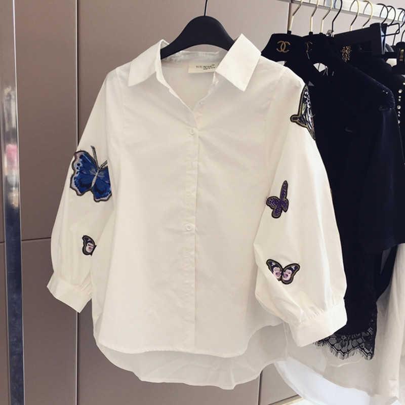 เสื้อสีขาว 2018 ฤดูใบไม้ผลิฤดูร้อนแขนยาวผีเสื้อเย็บปักถักร้อย Appliques Casual ผู้หญิงเสื้อใหม่แฟชั่นสุภาพสตรีเสื้อผ้า