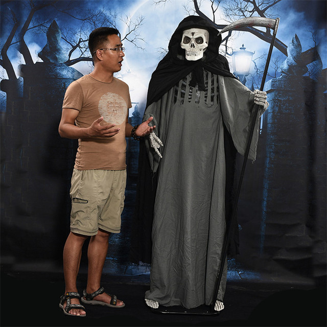 Halloween Accessories Grim Reaper Ghost Swinging Sickle Electrical Toys Swing Left Right Halloween Decoration Skeleton Ghosts
