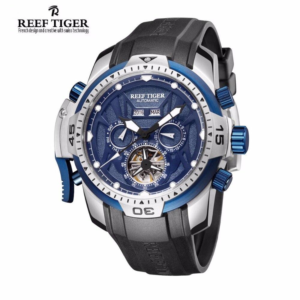 ccf833f8899 Recife Tigre RT Luminosa Relógio Do Esporte para Homens Complicado Mostrador  Azul com Mês Ano Data Dia Relógio Automático RGA3532 em Relógios desportivos  de ...