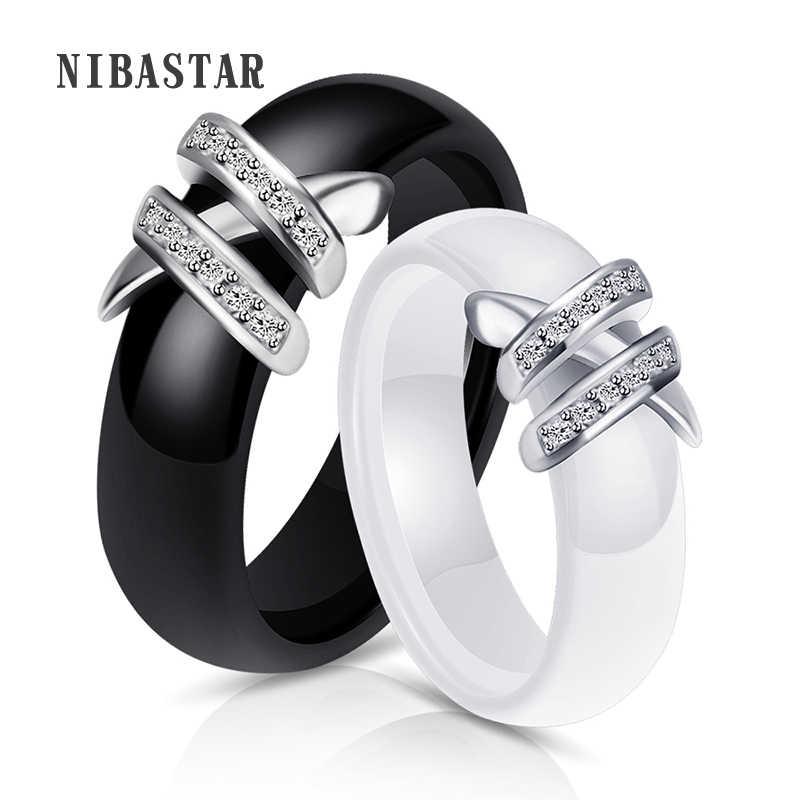 ที่ดีที่สุด 6 มม.คุณภาพสูงสีดำและสีขาว 2 สายคริสตัล Ziron แหวนเซรามิคสำหรับแฟชั่นผู้หญิงเครื่องประดับของขวัญ
