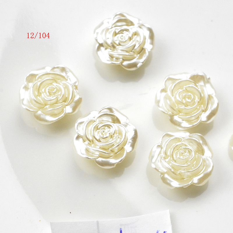 FLTMRH 20pcs12mm White Flat Back Simulated Half Pearl Bead Rose Flower Pearl Cabochon Beads For Craft Diy Jewelry Making