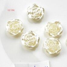 FLTMRH 20 шт. 12 мм белый плоский с обратной стороны имитация полужемчуга бусина цветок розы жемчуг Кабошон бусины для рукоделия ювелирных изделий