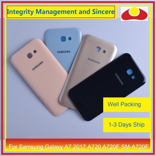 Orijinal Samsung Galaxy A7 2017 A720 A720F SM A720F batarya muhafazası kapı arka arka kapak kasa şasi kabuk değiştirme