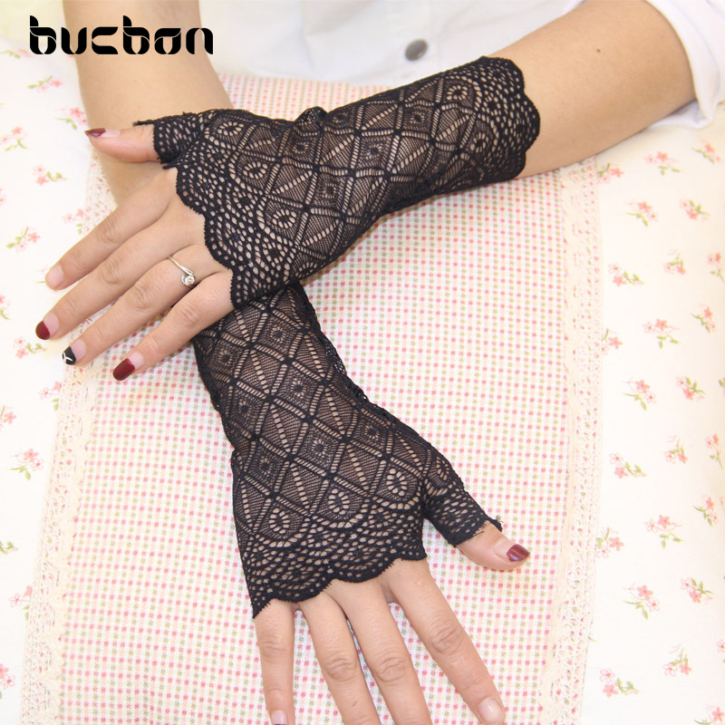Spring And Summer Women Gloves UV Sunscreen Black Lace Gloves Fingerless Sexy Gloves Dance Driving Guantes Mujer Luvas AGB181