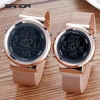 SANDA Stainless Steel Mesh Men Watch LED Digital Women Watches Calendar Alarm Chronograph Couple Wristwatches