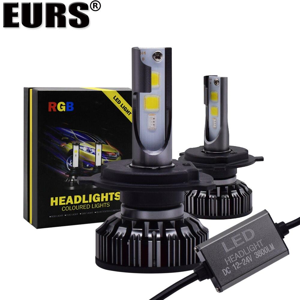 EURS (TM) H4 H7 ampoule LED RGB phare LED APP Bluetooth contrôle H1 H3 H8 H11 HB3 HB4 voiture lumière LED phare coloré