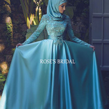 Dubai Kaftan Abaya Long Sleeve Satin Blue Evening Dress Turkishb Islamic Dresses With Hijab Muslim Evening Dress Kaftan